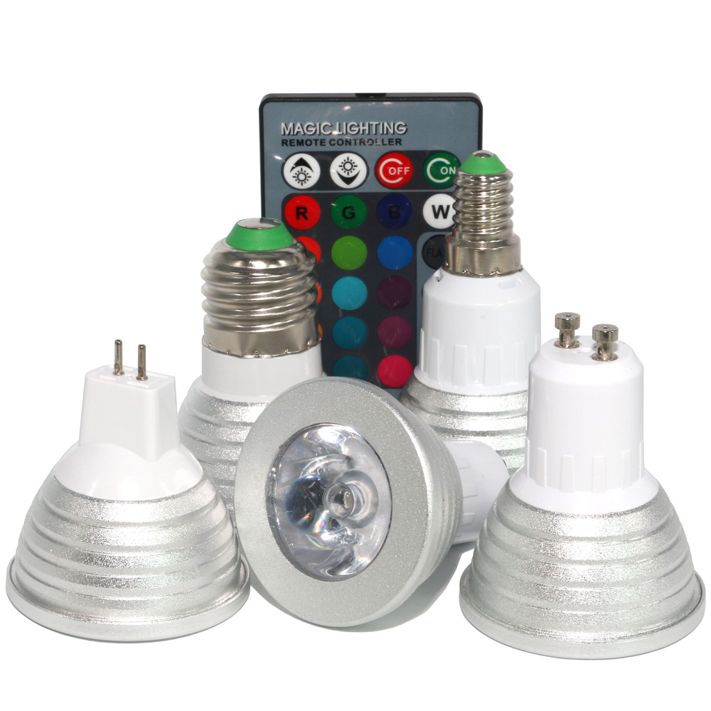 GU10 MR16 E27 E14 LED 16 Color Changing Magic Light Bulb Lamp 85-265V 110V 220V RGB Led Light Spotlight + IR Remote Control