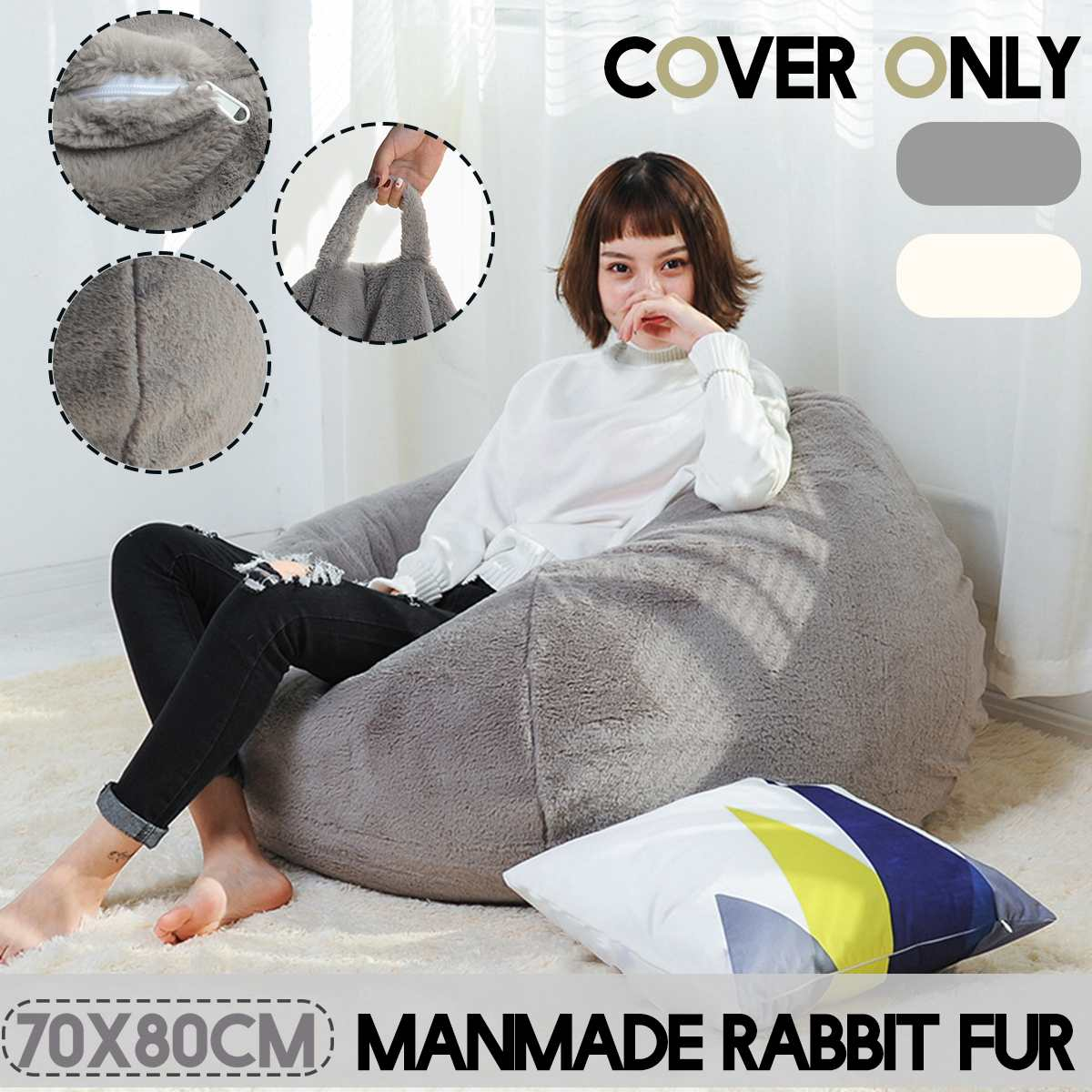 Handmade Rabbit Fur Lazy Sofas Cover Chairs Without Filler Cloth Lounger Seat Bean Bag Pouf Puff Couch Tatami Living Room70x80cm