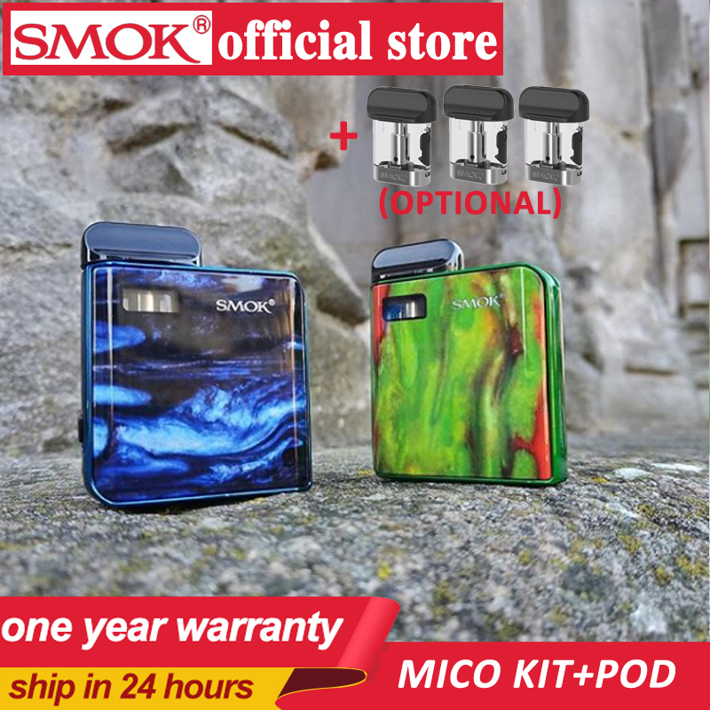 New Stocks SMOK MICO Kit With 700mAh Mico Battery 10-26W MICO MOD Electronic Cigarette Vape 1.7ml Cartridge Pod Mesh MTL Vaping