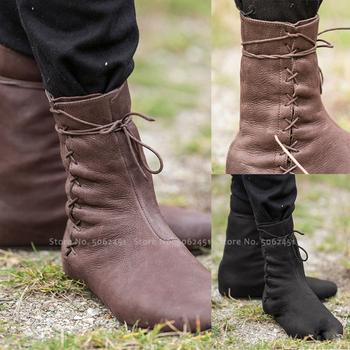 Średniowieczny karnawał mężczyźni rycerz Hunter książę zasznurować skórzane buty kobiety taniec etap Elf pojedyncze mieszkania buty Retro kostiumy Cosplay tanie i dobre opinie Unisex Dla dorosłych Historyczne Other Solid Knight boots black brown 34 35 36 37 38 39 40 41 42 43 winter autumn