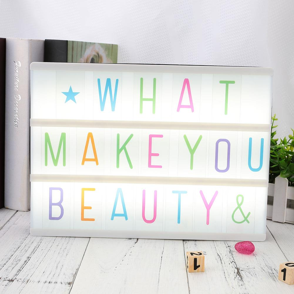 85pcs Letters Gifts Led Tool A4 Card Boxes Replacement Board Cinematic Sign Light Boxes Lighting Letters Up Cards Gift Lamp
