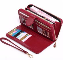 women wallets Wholesale fashion wax leather wallet long design clutch latest ladies purse