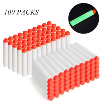 100pcs For Nerf Bullets EVA 7.2cm White Luminous Soft Bullet Hollow Hole Head for Nerf Toy Gun Accessories for Nerf Blasters worker f10555 no 152 stf type b set professional toy gun accessories for nerf stryfe black