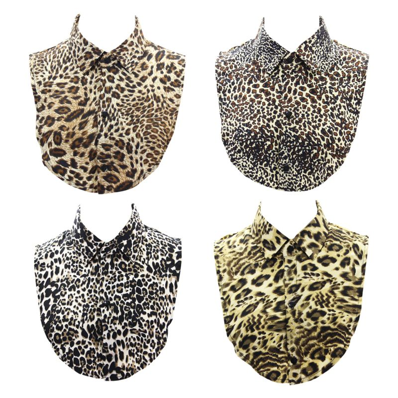 Women Leopard Animal Printed Linen Fake Collar Sweater Detachable Half-Shirt