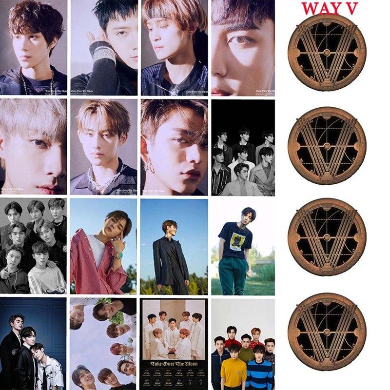 Kpop WAYV Take Over The Moon Photocard Sticker New Album Crystal Card Sticker Ten Winwin Photo Stikcy Card 16pcs/set