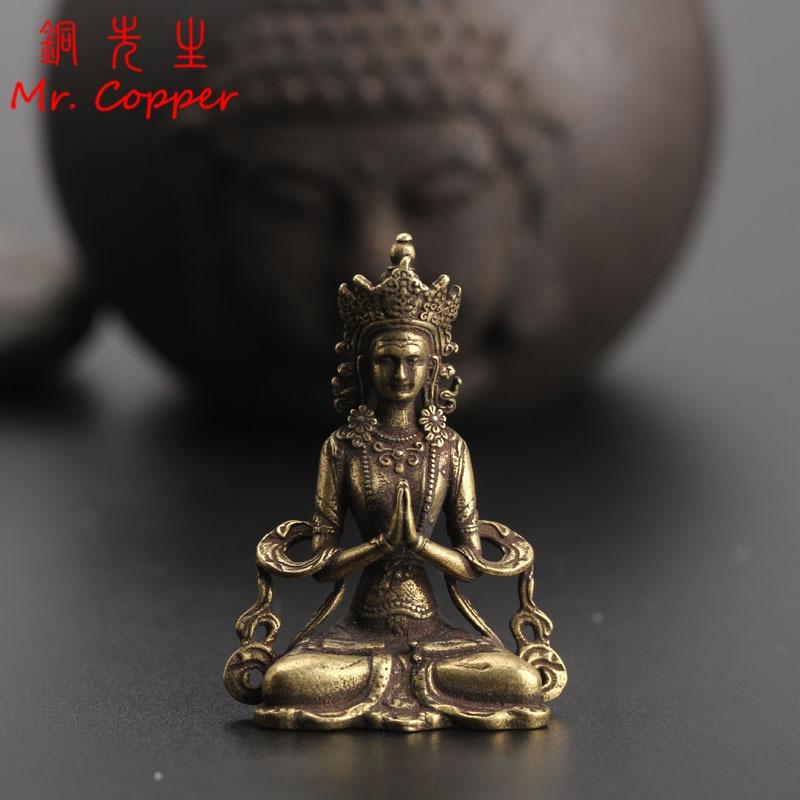 Solid Copper Mini Guanyin Buddha Statue Living Room Decorations Feng Shui Miniatures Figurines Home Decor Car Ornaments Crafts