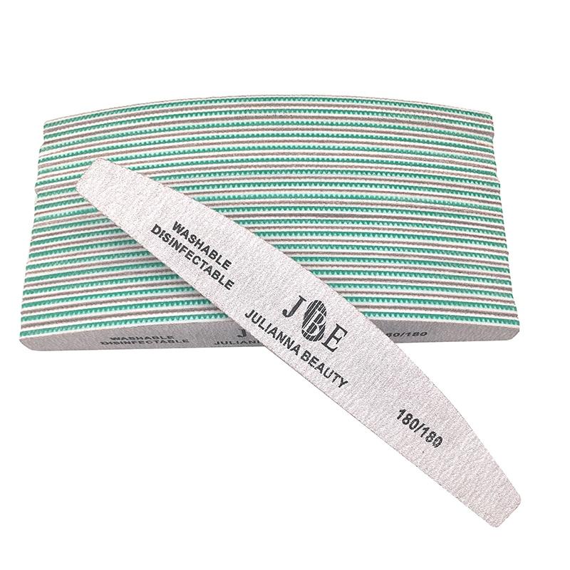 Пилки для ногтей Julianna, 10 шт., профессиональные пилки для ногтей, серые пилочки для маникюра, полировальные инструменты для маникюра, буфер дл...