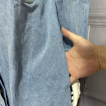 Spring Autumn Women Vintage Blue Long Denim Jackets Solid  Pocket Jeans Coat Female Outwear Tops Casual Loose Cowboy Windbreaker 4