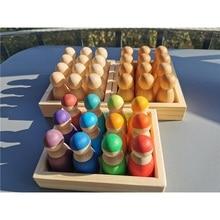 12pcs Baby Wooden Toys Rainbow Color Sort BassWood Dolls/ Matte Finish Pegdoll in Tray Blocks for kids Montessori Play