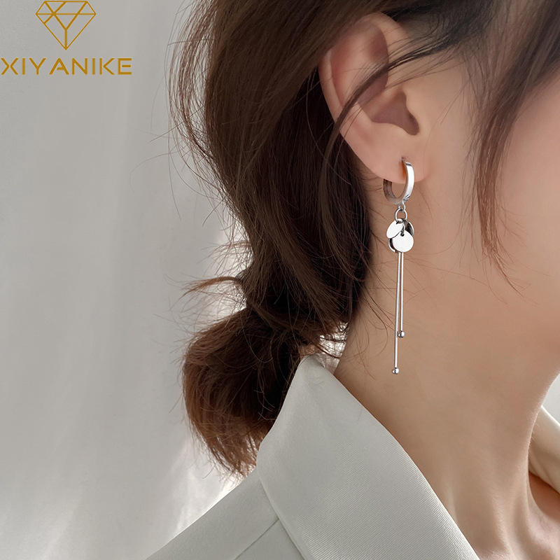 XIYANIKE 925 en argent Sterling nouveauté rond marque gland longues boucles d'oreilles tempérament Sexy mode INS bijoux faits à la main