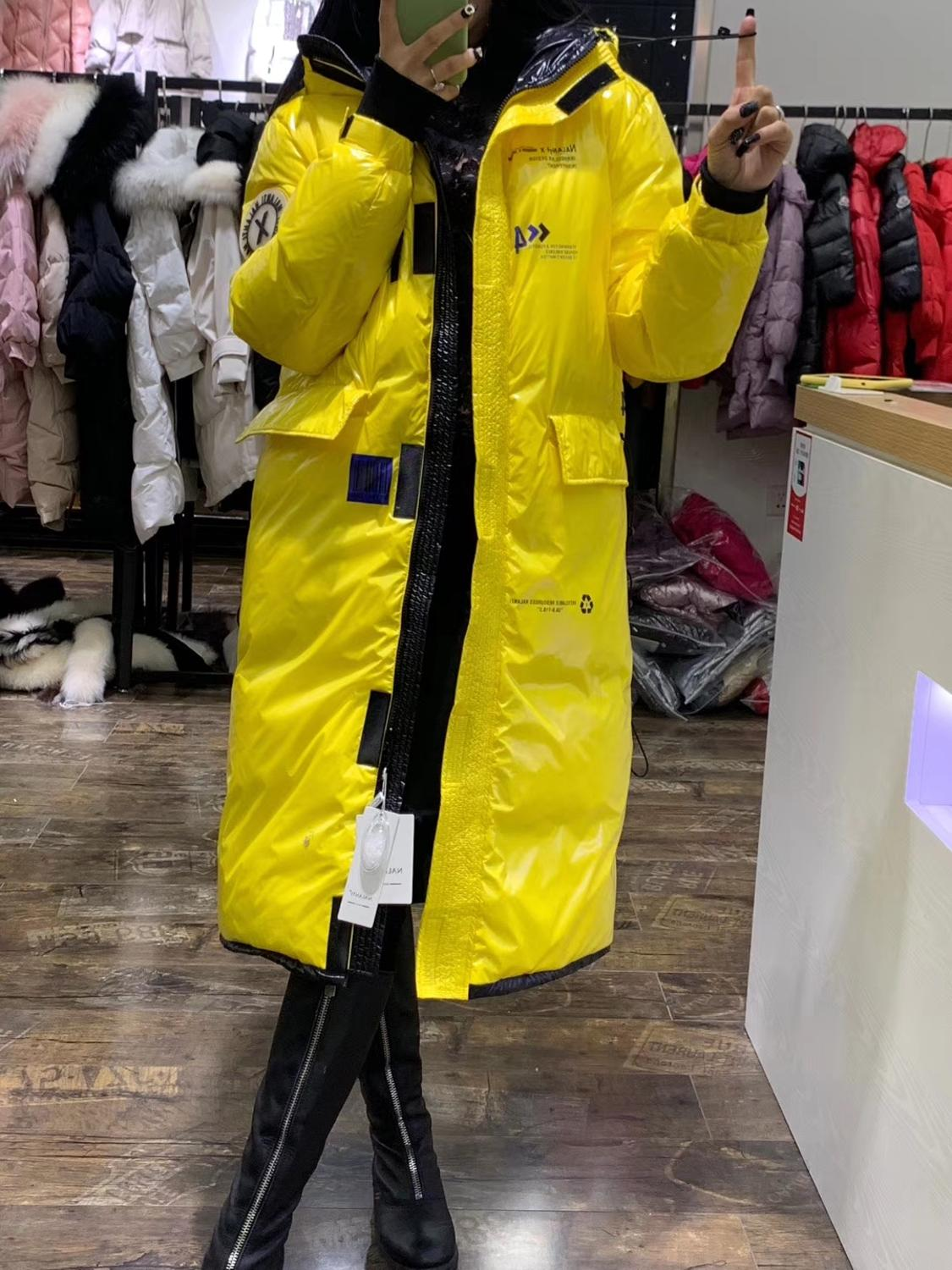 Women Hooded Down Jacket Yellow Red Long Thick Section Winter White Duck Down Jackets Large Size Winter Coat