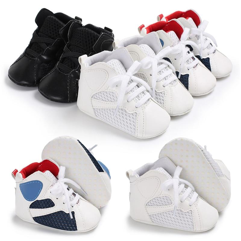 Fashion Newborn Baby Girl Soft Sole Shoe Anti Slip Toddler Boy Sneaker Trainers Prewalker Black White Blue 0-18M