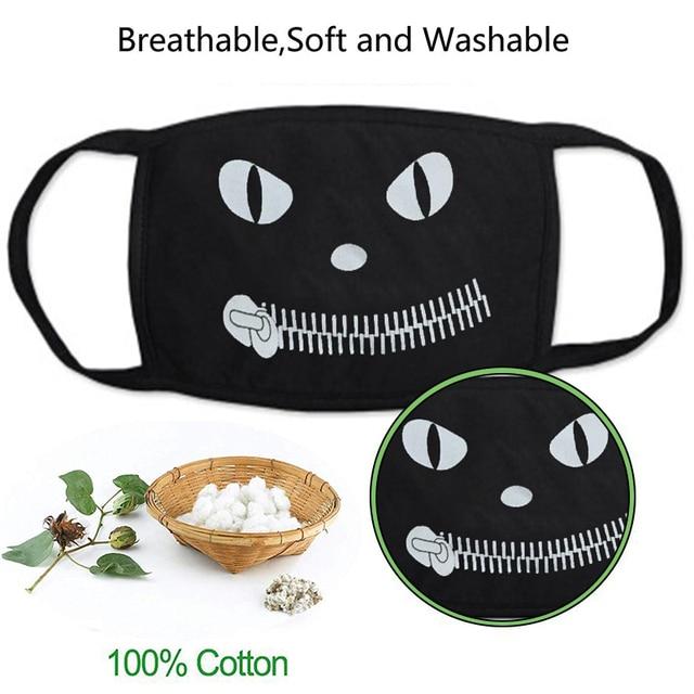 Funny Face Mask for Adult Children Cartoon Dustproof Cotton Face Mouth Masks Anime Bear Kawaii Kpop Winter Warm Skull Mask 2