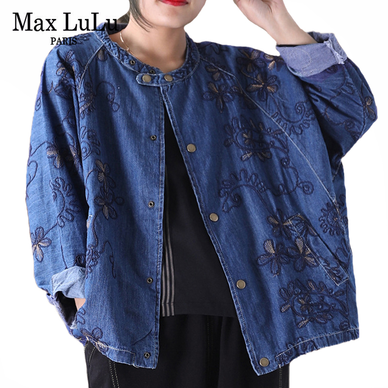 Max LuLu New 2020 Spring Fashion Chinese Style Ladies Embroidery Jackest Womens Vintage Denim Coats Casual Female Floral Clothes