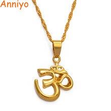 Anniyo africano símbolo pequeno yoga charme colar pingente para mulher menina, indiano hindoo hindu budista om índia religião #00710