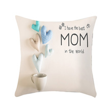 Lychee DIY Mothers Day Letter Series Pillow Cases Colorful Polyester Peachskin 45x45cm For Bedroom Home Office