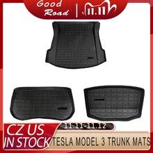 Stamm Matten Angepasst Auto Hinten Stamm Lagerung Matte Fracht Tray Stamm Wasserdichte Schutz Pads Matte Kompatibel Für Tesla Modell 3