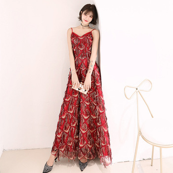 Sequin Tassel Robe De Soiree R289 Spaghetti Strap Evening Dresses 2020 Sleeveless A-Line Banquet Dress Ankle-length Formal Gowns