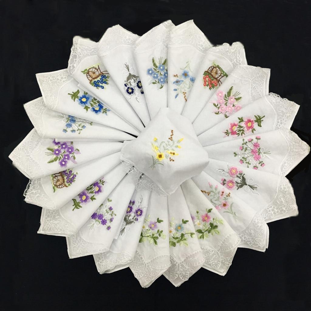 12Pcs 100% Cotton Floral Print Beautiful Handkerchiefs Ladies Girls Washable Pocket Party DIY Lace Hankie Kerchiefs Towel