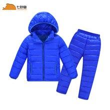 Dei bambini di inverno set giacca cappotto di inverno della ragazza del ragazzo di inverno del rivestimento del bambino della ragazza vestiti caldi 2 pcs