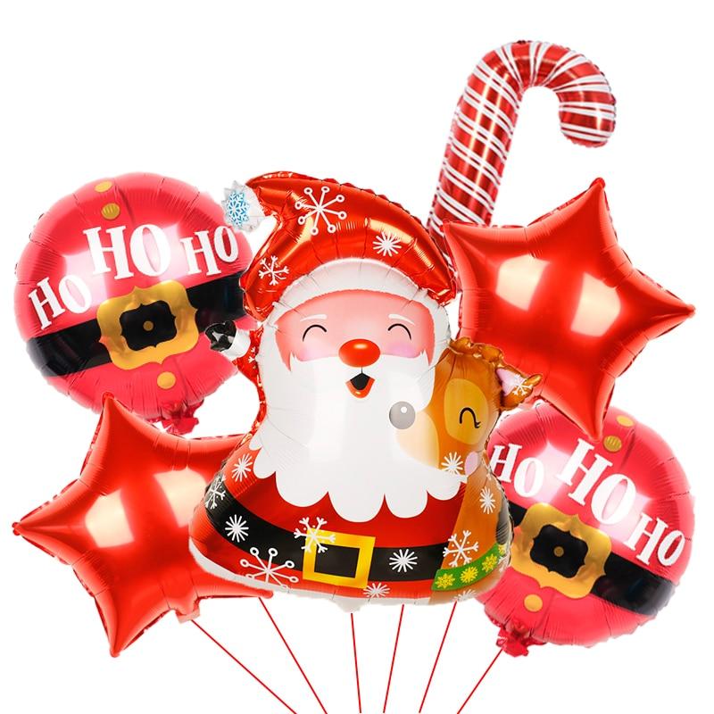 1 Набор, фольгированные воздушные шары в виде Санта-Клауса, снеговика, рождественского оленя, пингвина