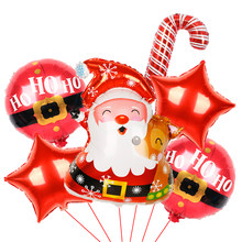 1 conjunto navidad feliz natal folha balões papai noel boneco de neve globos natal veados pinguim ar brinquedos decorações de natal para casa