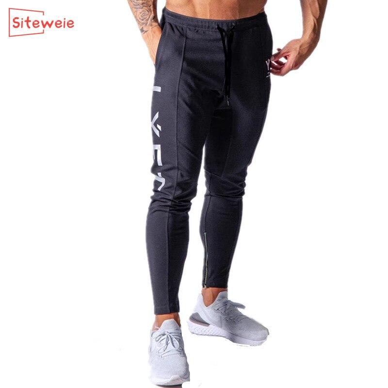 Siteweie calças esportivas dos homens correndo ginásio de algodão lápis calças corredores casuais fitness algodão moletom musculação g249