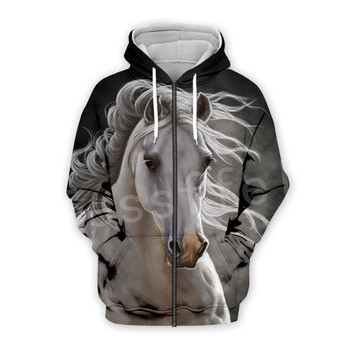 Tessffel Animal Horse art Unisex Colorful Casual Tracksuit Harajuku 3DfullPrint Zipper/Hoodies/Sweatshirt/Jacket/Mens Womens s14 2