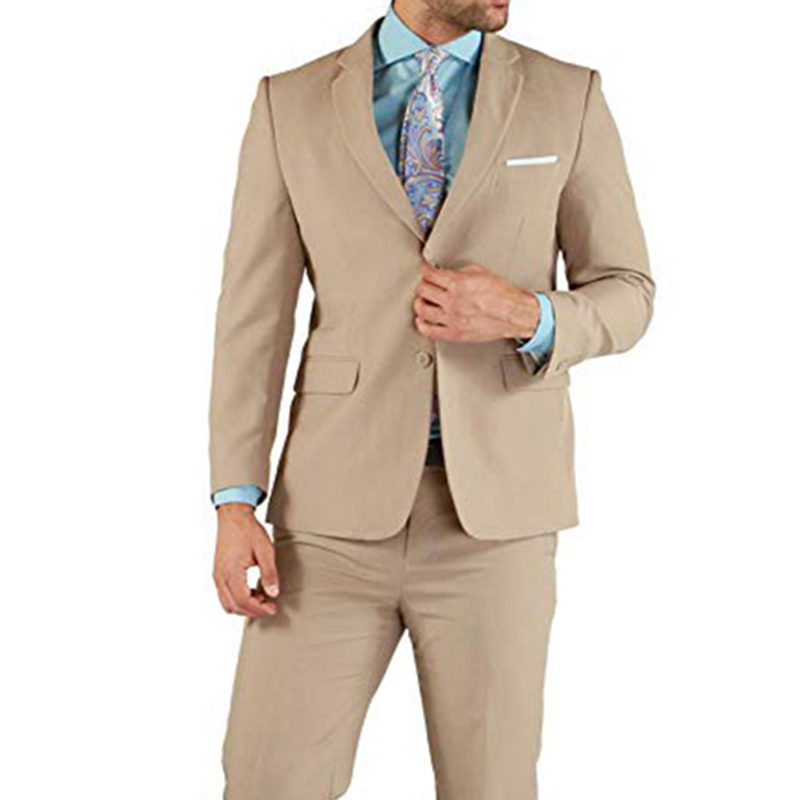 Khaki Men Suits Double Breasted 2 Pieces (Jacket+Pants) Peaked Collar Slim Fit Suits For Wedding Dinner Party Tuxedos