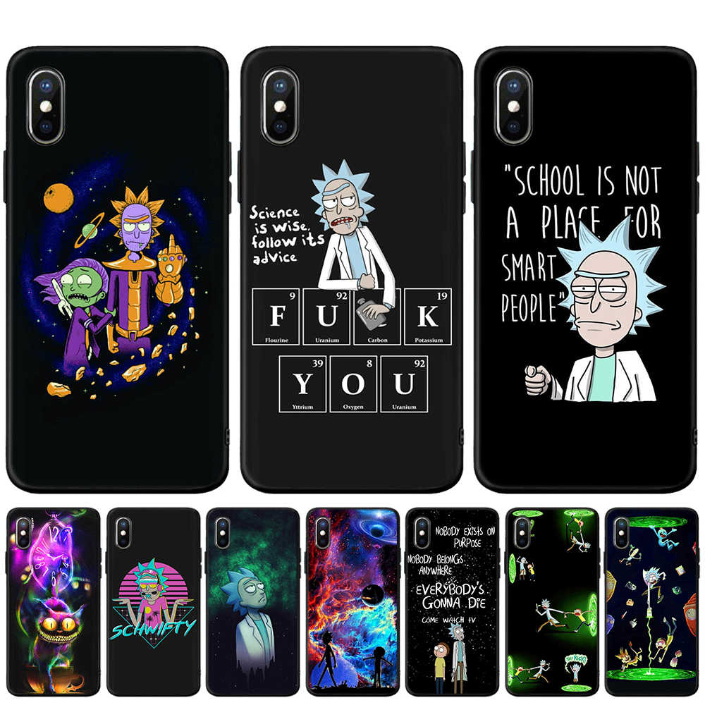 Rick e Morty Black Cat Soft Case Para iphone 5 5S SE 6 6s 7 8 mais Macio TPU Silicone capa Para o iphone X XR XS MAX Fundas Coque