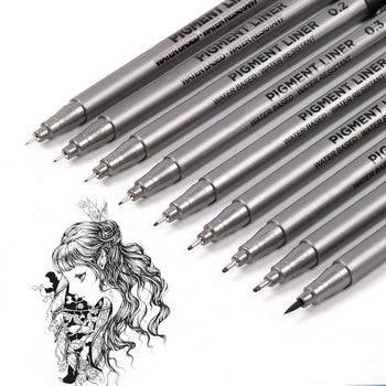 9Pcs/set Pigment Liner Micron Ink Marker Pen For Drawing Sketch Manga Micron Liner Calligraphy Brush Hook Line Pens Art Supplies sta 9pcs waterproof black micron pen hook liner sketch brush markers for manga comic handwriting brush pen drawing art supplies