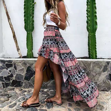 Vintage Printing Iregular Skirt Women Ruffle High Waist Casual Fashion Long Skirts Summer 2021 Elegant Female Slim Bottoms Saias