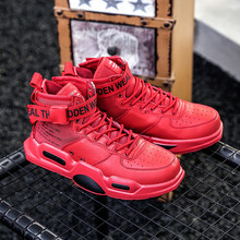 New Fashion Men Sneakers High Top Running Shoes for Men White Red Outdoors Walking Sports Shoes Boots Comfortable Plus Size 47(China)