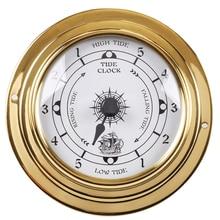 """Tc8151 novo estojo analógico de metal, estação meteorológica tradicional de bronze com 1 peça de 3 """", relógio de maré analógico de ouro e metal (mostrador branco)"""