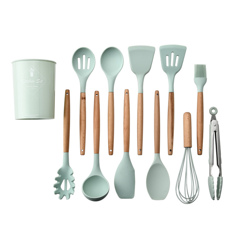 6 9 10 12PCS Silicone Utensils Set Non stick Spatula Shovel Wooden Handle Cooking Tools Set With Storage Box Kitchen Tools in Cooking Tool Sets from Home Garden