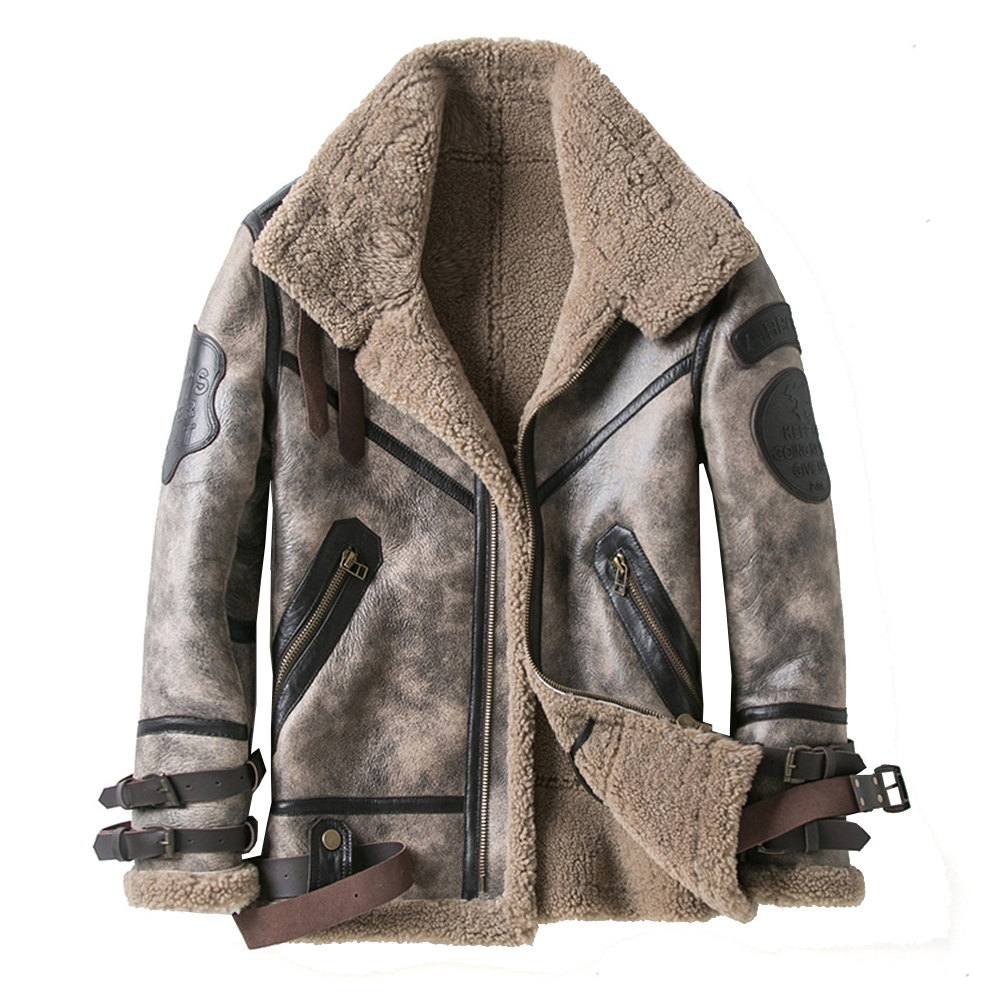 2019 Fashion 100% Quality Real Sheepskin Fur Men Coat Genuine Full Pelt Sheep Shearling Male Winter Jacket Brown Men Fur Outwear