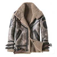 2019 Mode 100% Qualität Real Schaffell Männer Mantel Echten Full Schafe Lammfell Männlichen Winter Jacke Braun Männer Pelz outwear