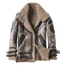 Fashion 100% Quality Real Sheepskin Fur Men Coat Genuine Full Pelt Sheep Shearling Male Winter Jacket Brown Men Fur Outwear