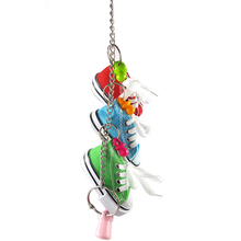 Pet Bird Toys Mini Canvas Shoes Parrot Shoe Cage Decoration Standing Climbing Toy