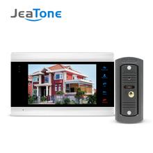 JeaTone 7 #8221 TFT LCD przewodowy wideodomofon wizualny wideodomofon głośnomówiący domofon z wodoodporną zewnętrzną kamera na podczerwień tanie tanio CMOS color 220 v Acrylic Wire Drawing Panel Do Montażu na ścianie External power DC12V 420 linii tv Brak ANALOG 7 Inch Video Intercom System