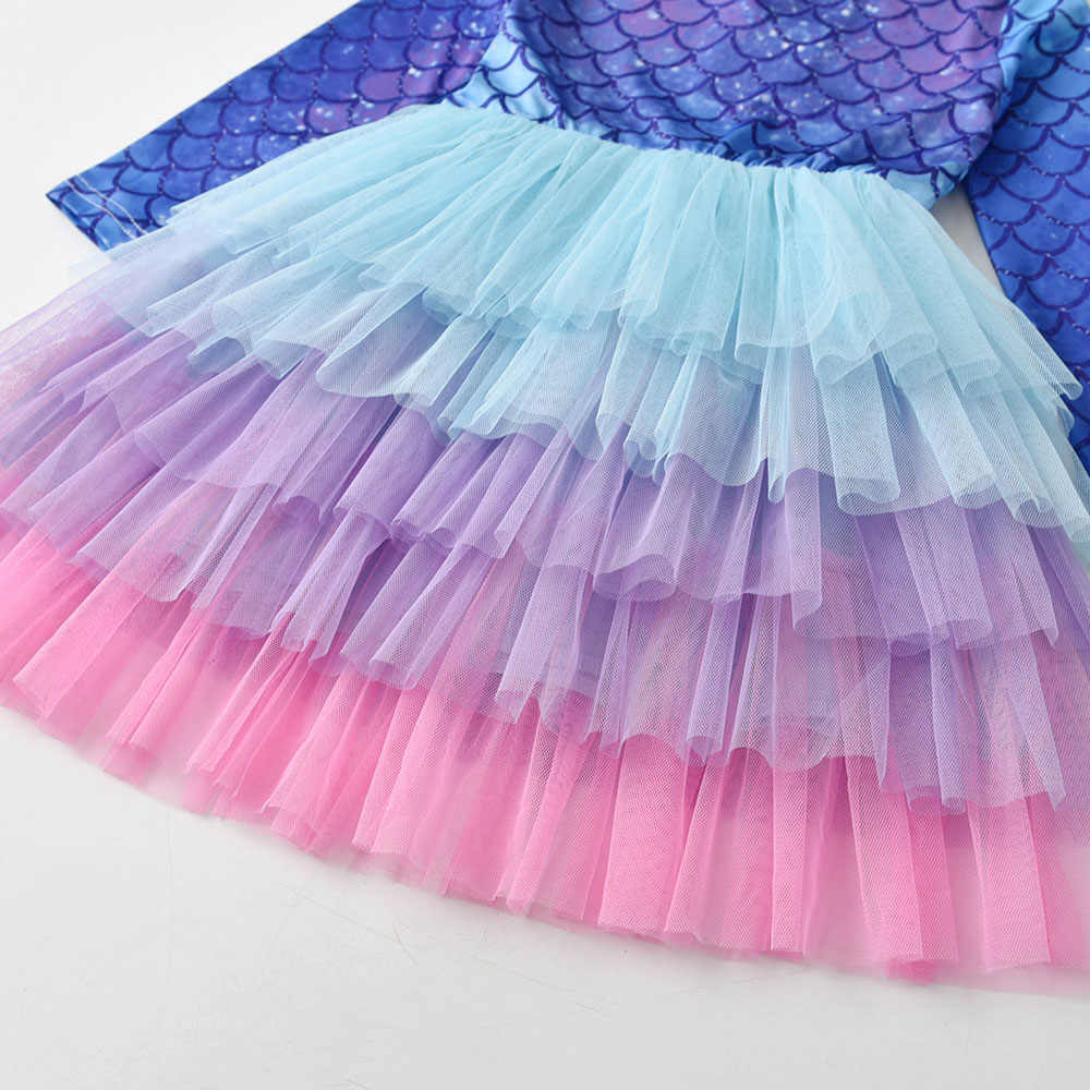 VIKITA טוטו שמלה עבור בנות ארוך שרוול תינוק בנות Cartoon נסיכת מסיבת Vestidos ילדים רשת שמלת עבור ילדה תלבושות