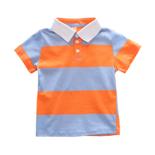 1-6Y Baby Boys Shirt Toddler Poloshirt Kids Button Down Stripes Short Sleeve Knitting Summer Top Polos