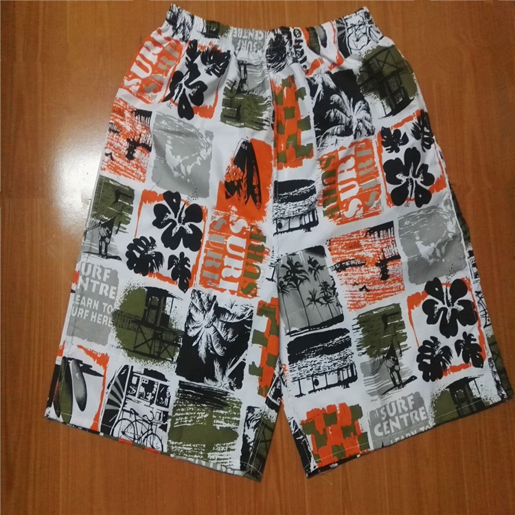 MEN'S Beach Pants Printed Short Casual Pants Loose-Fit Quick-Dry Booth Goods Sports Surfing Drifting