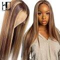 #4/27 прямые парики из натуральных волос на кружеве для женщин 4x4, парики для волос 13x4