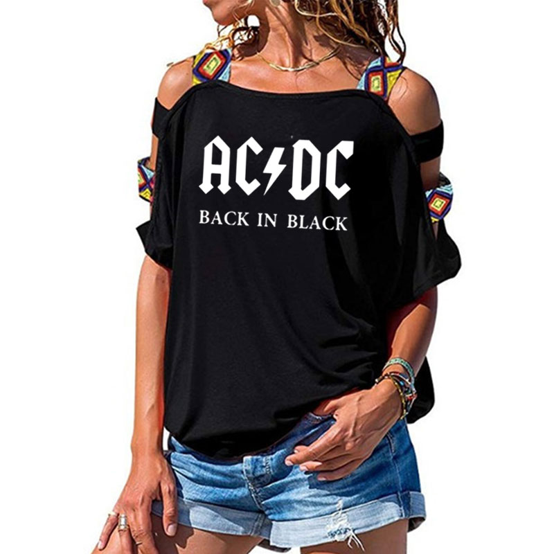 ACDC Band Rock T-Shirt Women's ACDC Letter Printed Tshirts Hip Hop Rap Music Short Sleeve Sexy Hollow Out Shoulder Tops Tee