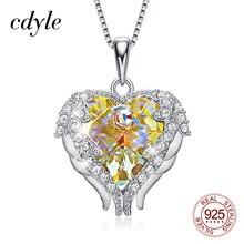 Cdyle prawdziwe 925 Sterling Silver naszyjnik z żółtym kryształem anioł skrzydło wisiorek w kształcie serca dla kobiet biżuteria zaręczynowa