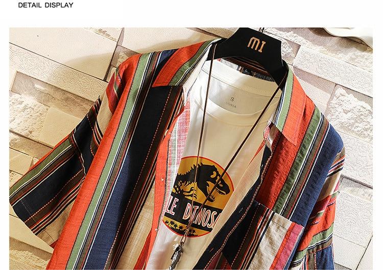 Camisa havaiana boêmio dos homens 5xl algodão