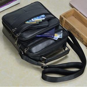 Image 5 - Hommes en cuir véritable sacs à main mâle de haute qualité en cuir de vachette sacs de messager hommes Ipad sac daffaires taille moyenne mallette fourre tout