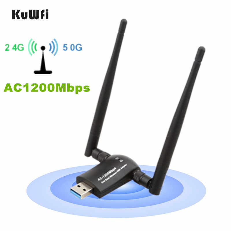 KuWFi 1200Mbps USB3.0 WiFi Adapter Wireless Network WiFi Dongle with High Gain Dual Antennas for Desktop Laptop Dual Band 2.4G/5