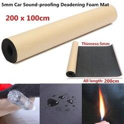 200x100cm 5mm Car Sound Hot Deadener Mat Noise Proof Bonnet Insulation Deadening Hood Engine Firewall Heat Foam Cotton Sticker
